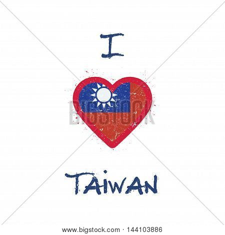 I Love Taiwan, Republic Of China T-shirt Design. Taiwanese Flag In The Shape Of Heart On White Backg