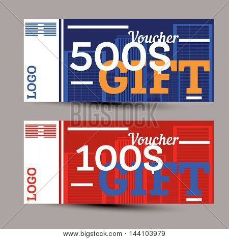 Gift voucher. Vector illustration.