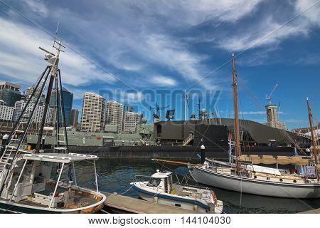 SYDNEY, AUSTRALIA - APRIL, 2016 : View of ships, Submarine HMAS Onslow, Destroyer HMAS Vampire mooring at North Wharf, Darling Harbour, Sydney, Australia on April21, 2016.