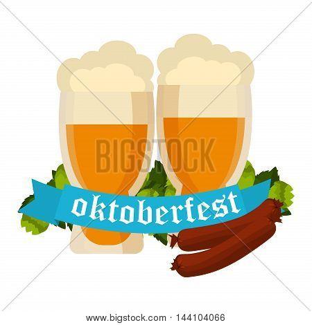 Oktoberfest celebration vector with two beer mugs. Oktoberfest beer banner festival pub sign symbol germany bavaria design. Oktoberfest glass beer festival banner party bar traditional culture.