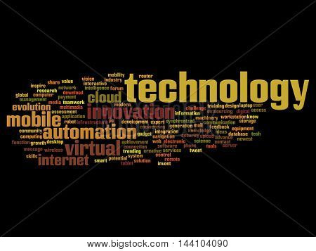 Concept or conceptual digital smart technology, media word cloud isolated on background