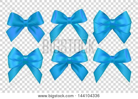 Ribbons set for Christmas gifts. Blue gift vector bows with ribbons. Blue gift ribbons and bows for New Year celebrate. Christmas ribbons christmas gifts. Birthday ribbons birthday gifts.