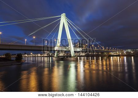 The Severin bridge over Rhine River in Cologne illuminated at night. North Rhine-Westphalia Germany
