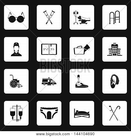 Accessibility icons set in simple style. Disabled people care help assistance set collection vector illustration