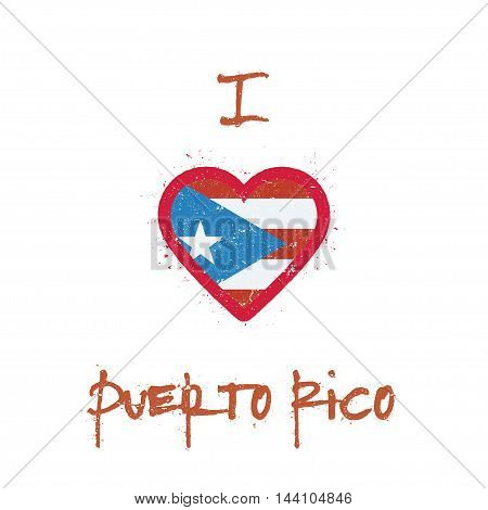 I Love Puerto Rico T-shirt Design. Puerto Rican Flag In The Shape Of Heart On White Background. Grun