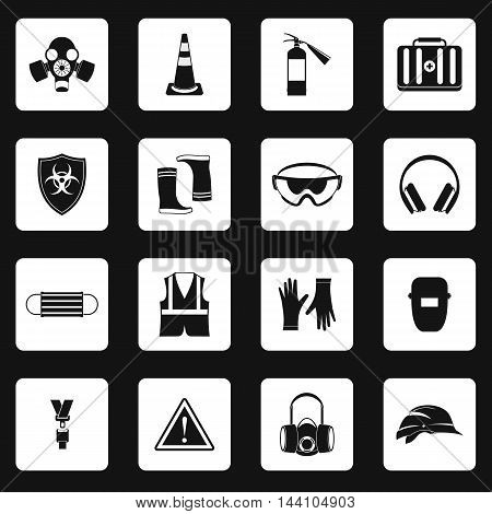 Individual protection icons set in simple style. Personal protective equipment set collection vector illustration