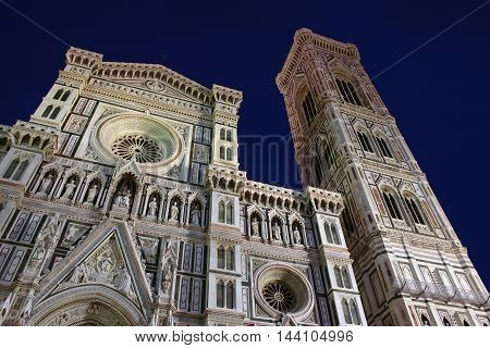 Florence's cathedral at night in perspective on the blue sky