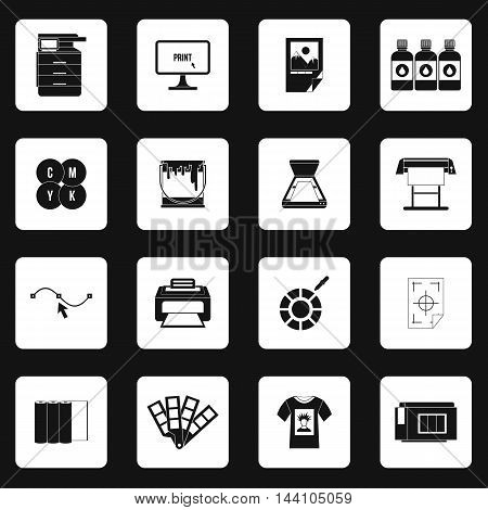 Printing icons set in simple style. Printing service set collection vector illustration