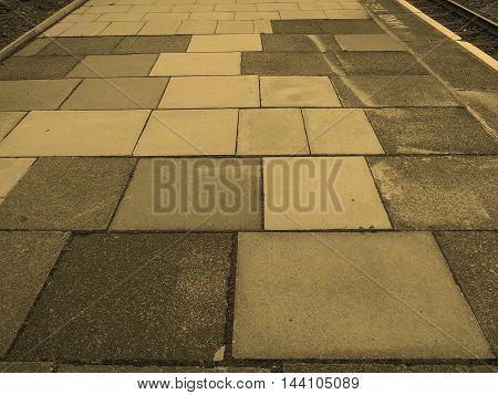 Grey Concrete Pavement Background Sepia