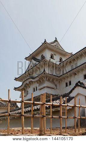 HIMEJI JAPAN - JULY 21 2016: Northwest small keep (Inui kotenshu) of Himeji castle (circa 1609) after repairing works ended 2015. National Treasure of Japan and UNESCO World Heritage Site