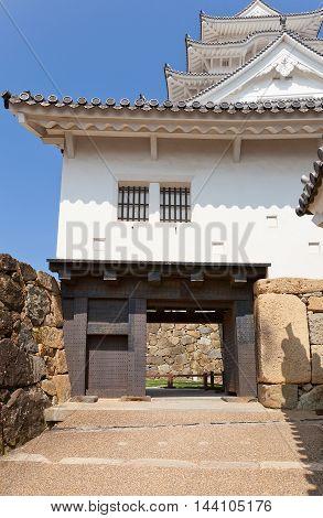 HIMEJI JAPAN - JULY 21 2016: Bizenmon Gate of Himeji castle (White Egret Castle circa 1609). Himeji-jo is National Treasure of Japan and UNESCO World Heritage Site