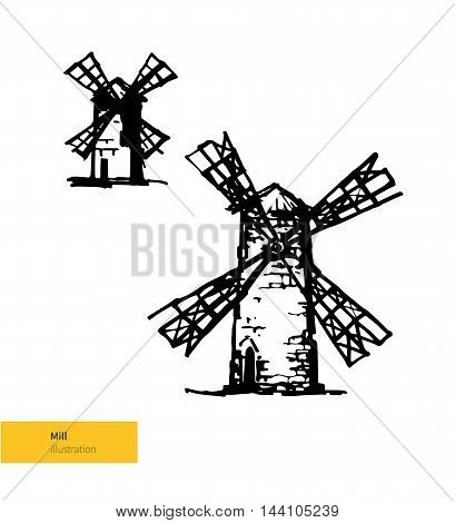 Vector Illustration. Hand Drawn Ancient Mill. Black on White Background.