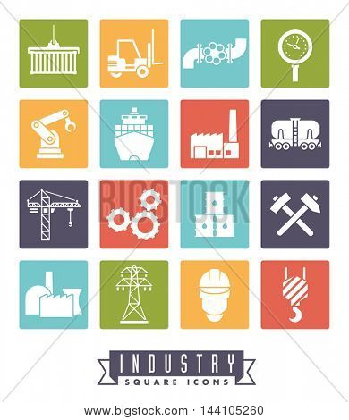 Industry icon set. Collection of 16 colored square industry themed vector icons