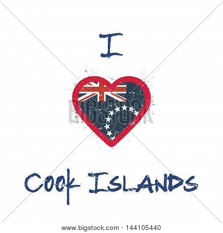I Love Cook Islands T-shirt Design. Cook Islander Flag In The Shape Of Heart On White Background. Gr