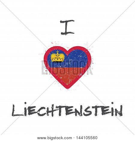 I Love Liechtenstein T-shirt Design. Liechtensteiner Flag In The Shape Of Heart On White Background.