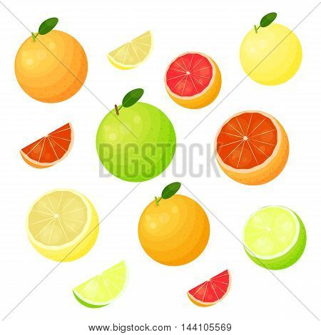 Different grapefruit varieties including ruby, pink, white and green oroblanco isolated on white background.