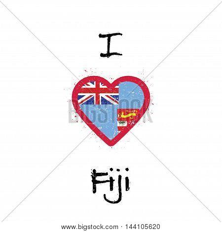 I Love Fiji T-shirt Design. Fijian Flag In The Shape Of Heart On White Background. Grunge Vector Ill
