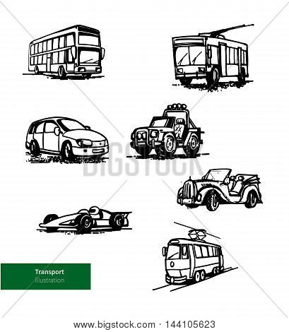Vector Transport Set. Hand Drawn Buses, Cars and Tram.