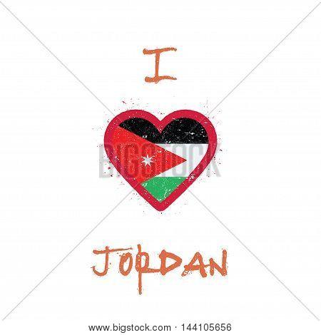 I Love Jordan T-shirt Design. Jordanian Flag In The Shape Of Heart On White Background. Grunge Vecto