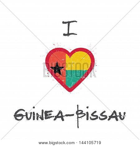 I Love Guinea-bissau T-shirt Design. Guinea-bissauan Flag In The Shape Of Heart On White Background.