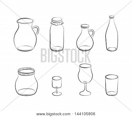 Hand drawn outline glass bottles, jug and jars isolated on white background.
