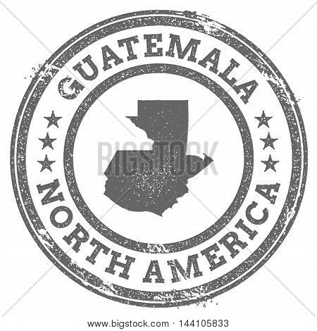 Guatemala Grunge Rubber Stamp Map And Text. Round Textured Country Stamp With Map Outline. Vector Il