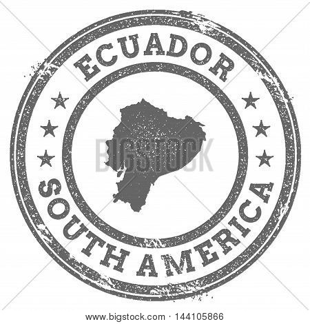 Ecuador Grunge Rubber Stamp Map And Text. Round Textured Country Stamp With Map Outline. Vector Illu