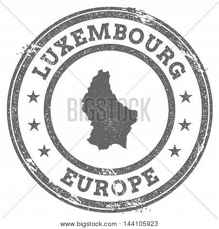 Luxembourg Grunge Rubber Stamp Map And Text. Round Textured Country Stamp With Map Outline. Vector I