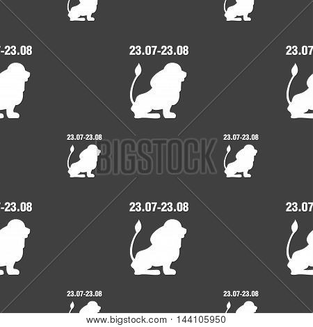 Leo Zodiac Sign. Seamless Pattern On A Gray Background. Vector