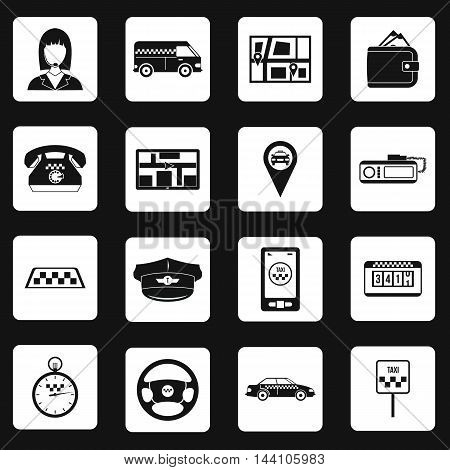 Taxi icons set in simple style. Taxi elements set collection vector illustration