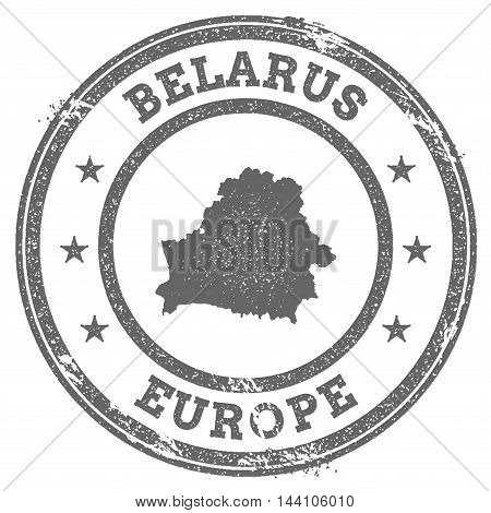 Belarus Grunge Rubber Stamp Map And Text. Round Textured Country Stamp With Map Outline. Vector Illu