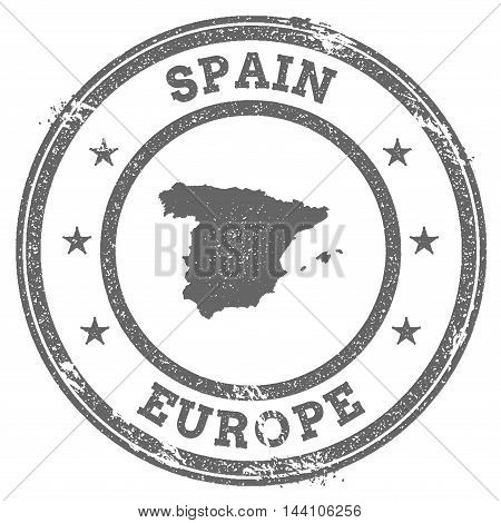 Spain Grunge Rubber Stamp Map And Text. Round Textured Country Stamp With Map Outline. Vector Illust