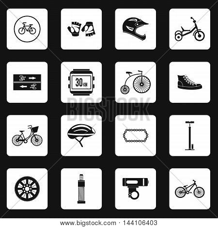 Bicycling icons set in simple style. Bicycle equipment set collection vector illustration