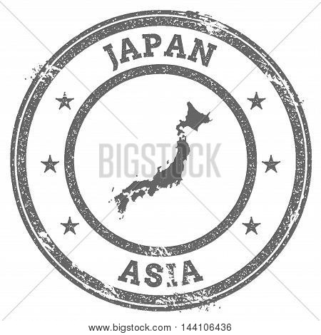 Japan Grunge Rubber Stamp Map And Text. Round Textured Country Stamp With Map Outline. Vector Illust