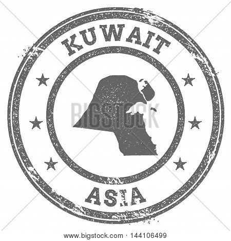 Kuwait Grunge Rubber Stamp Map And Text. Round Textured Country Stamp With Map Outline. Vector Illus