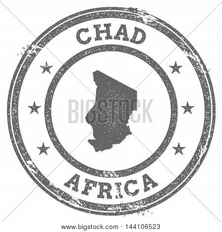 Chad Grunge Rubber Stamp Map And Text. Round Textured Country Stamp With Map Outline. Vector Illustr