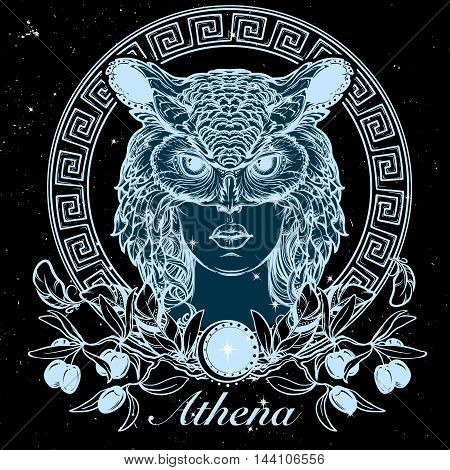 Athena goddess of ancient greek myths.. Beautiful woman in an owl mask. Tattoo design, occult character. Halloween concept art. Night sky background with stars. EPS10 vector illustration.