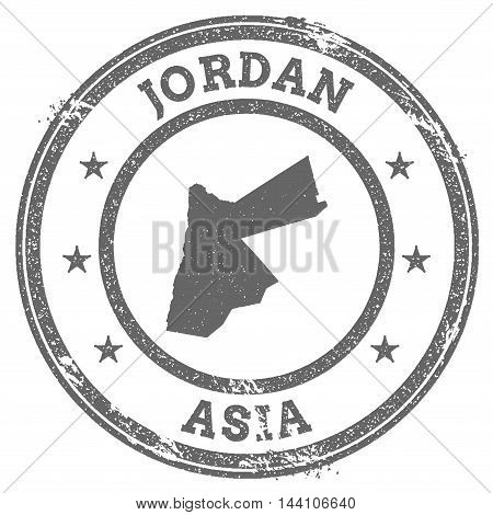 Jordan Grunge Rubber Stamp Map And Text. Round Textured Country Stamp With Map Outline. Vector Illus