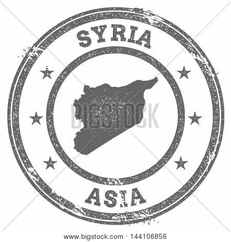 Syrian Arab Republic Grunge Rubber Stamp Map And Text. Round Textured Country Stamp With Map Outline