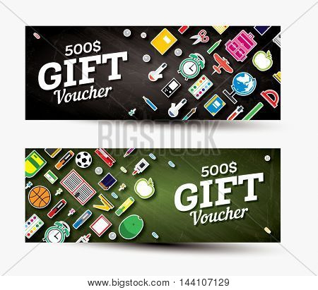 Gift voucher template with school supplies. Vector illustration.