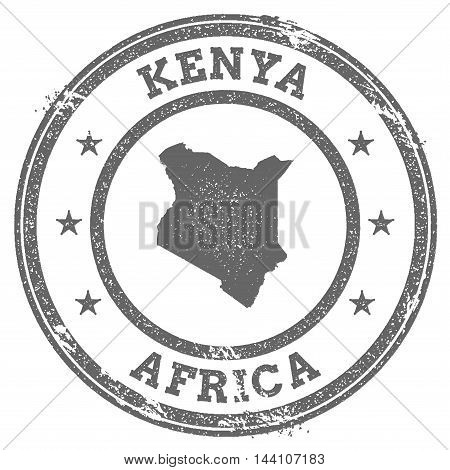 Kenya Grunge Rubber Stamp Map And Text. Round Textured Country Stamp With Map Outline. Vector Illust
