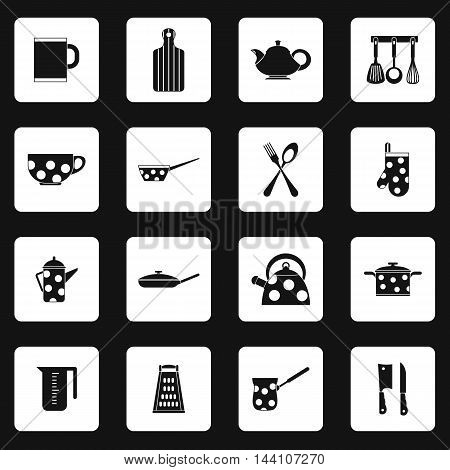 Kitchen utensil icons set in simple style. Kitchen and household utensil set collection vector illustration