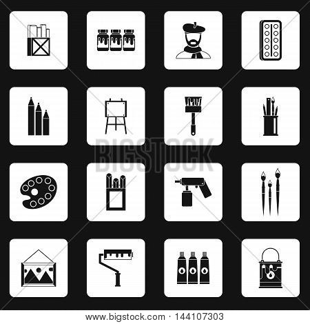 Artist studio icons set in simple style. Artists supplies set collection vector illustration