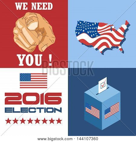 Usa 2016 election card with country map vote box and we need you slogan with hand. Digital vector image