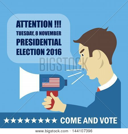 Usa 2016 election card with a character with megaphone giving details to come and vote. Digital vector image