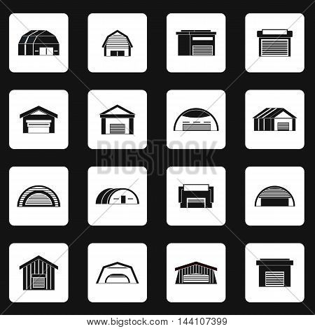 Hangar icons set in simple style. Warehouse set collection vector illustration