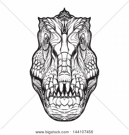 Detailed sketch style drawing of the tirannosaurus rex head isolated on white background. Paleonthology illustration. Tattoo design. Coloring book illustration. EPS10 vector illustration.