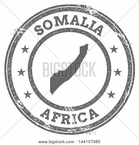 Somalia Grunge Rubber Stamp Map And Text. Round Textured Country Stamp With Map Outline. Vector Illu