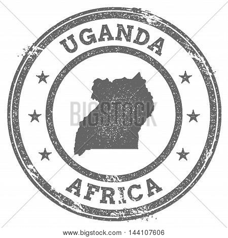 Uganda Grunge Rubber Stamp Map And Text. Round Textured Country Stamp With Map Outline. Vector Illus