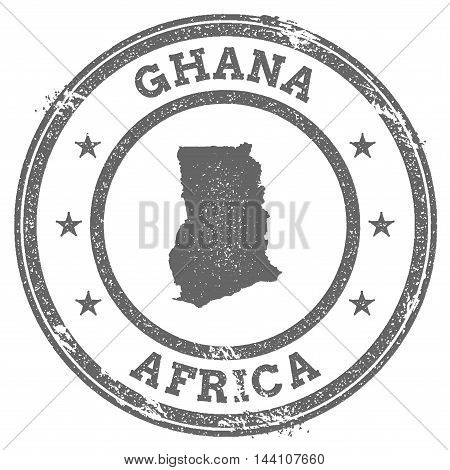 Ghana Grunge Rubber Stamp Map And Text. Round Textured Country Stamp With Map Outline. Vector Illust